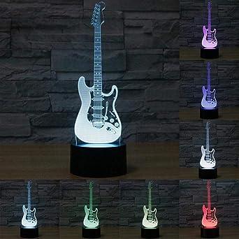 Luz nocturna 3D Guitarra eléctrica 3D Lámpara LED 7 colores cambiando USB Touch Sensor Desk Nig