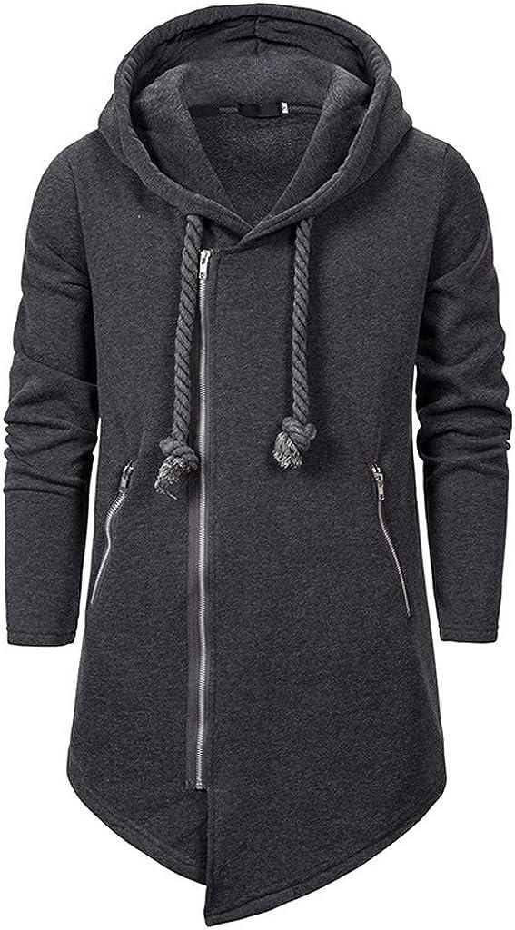 Mens Long Hoodies Cardigan Solid Color Long Sleeve Full Zip Drawstring Hooded Coat with Zipper Pocket