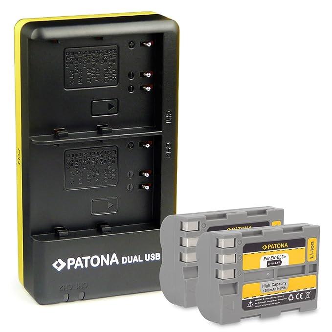 PATONA 2in1 Dual Cargador con micro USB + 2x Bateria EN-EL3E para Nikon D700 | D300 | D200 | D100 | D90 | D80 | D70 | D50