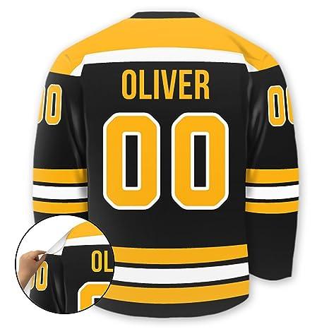 Personalized Hockey Jersey Stick-on Wall Decal (Boston)