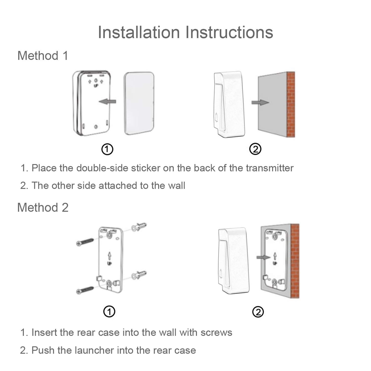 Self Powered Wireless Doorbell Waterproof Cordless Chime Kit Push Button Wiring Diagram One Two Chimes Includes No