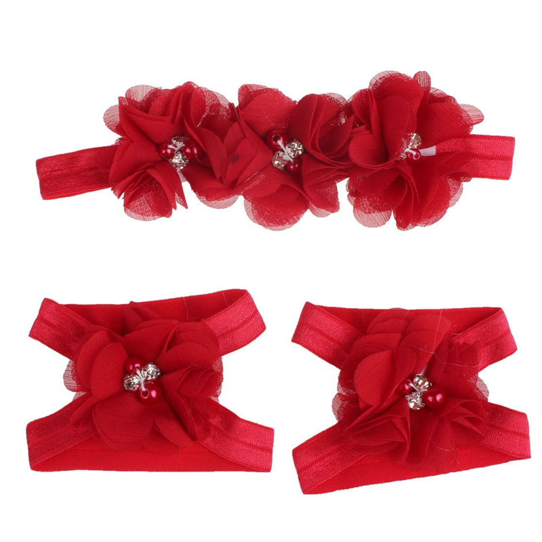 Coromose Colorful Foot Flower Barefoot Sandals + Headband Set for Baby (red)
