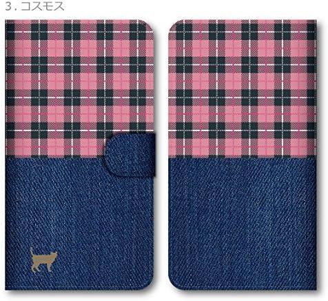 iPhone 11 Pro Max ケース 手帳型 スマホケース おしゃれ かわいい デニム風プリント タータンチェック 猫 コスモス