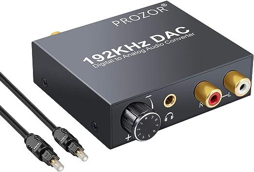 Proster DAC Convertidor Digital a Analógico 192kHz Adaptador Coaxial Óptico a RCA 3.5mm Jack Control de Volumen Conversor Audio Digital para HDTV PS3 PS4 DVD BLU-Ray Amplificador AV: Amazon.es: Electrónica