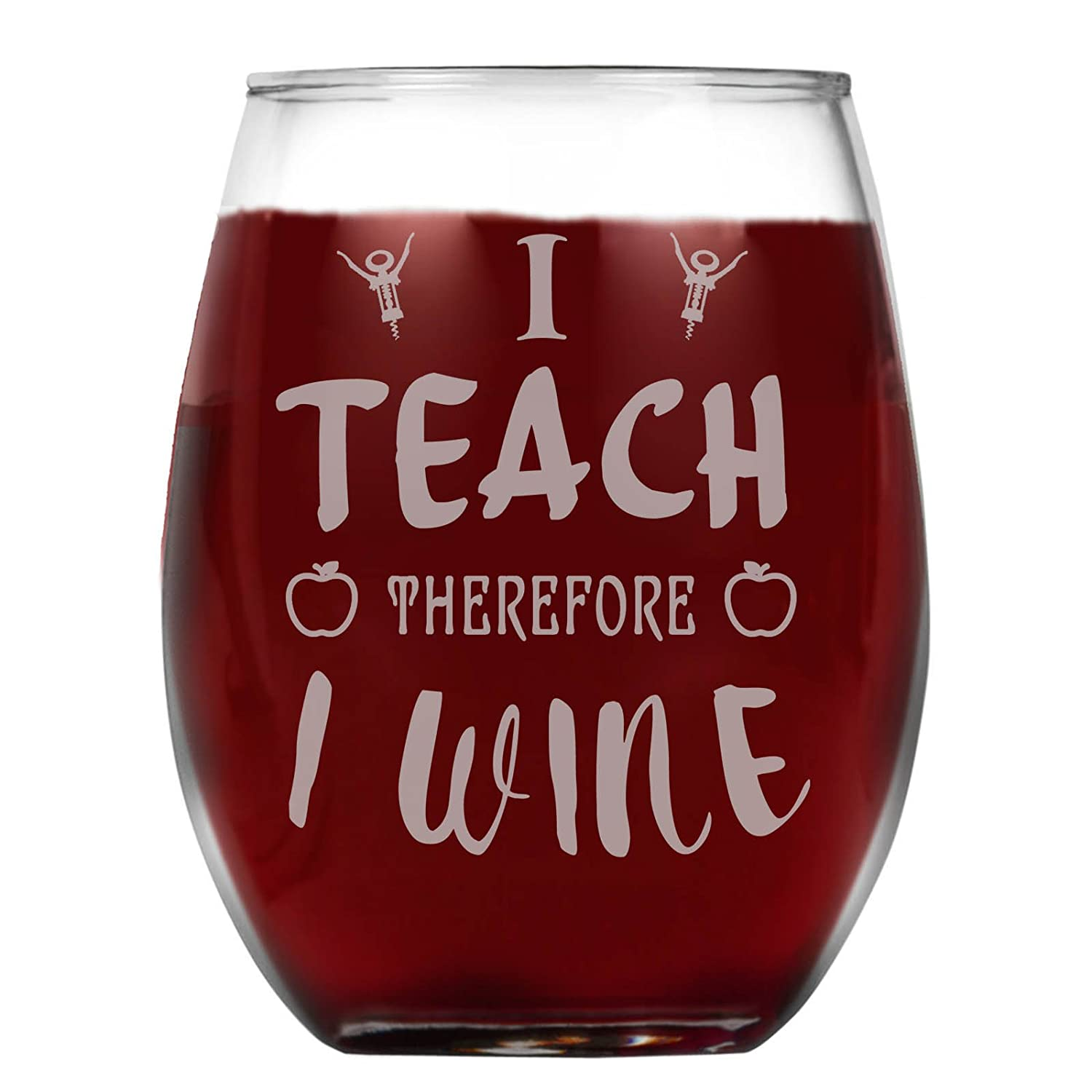 b806638f1bd Amazon.com | Shop4Ever I Teach Therefore I Wine Laser Engraved Stemless  Wine Glass ~ Teacher Appreciation Gift ~ (Stemless, 15 oz.): Wine Glasses