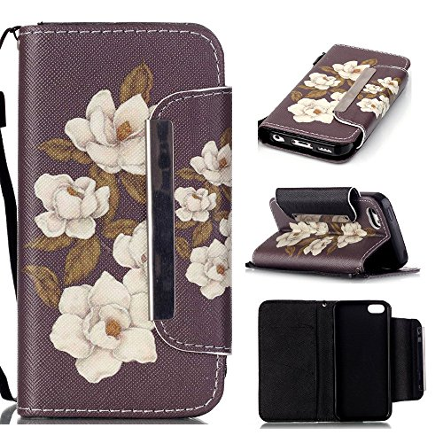 5C Case,iPhone 5C Case,XYX [Large Buckle - Begonia Flowers] - [Kickstand][Wallet][Card Slot][Flip][Slim Fit][Lanyard] Premium Protective Case for iPhone 5C