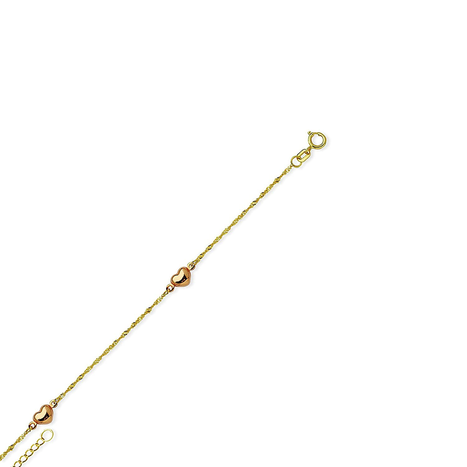 Roy Rose Jewelry 14K Yellow Gold .80mm Round Snake Chain Anklet Bracelet ~ Length 9 inches