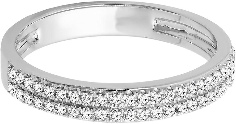 0.20 Carat 10K Gold Round White Diamond Ladies Double Row Wedding Band 1//5 CT ctw