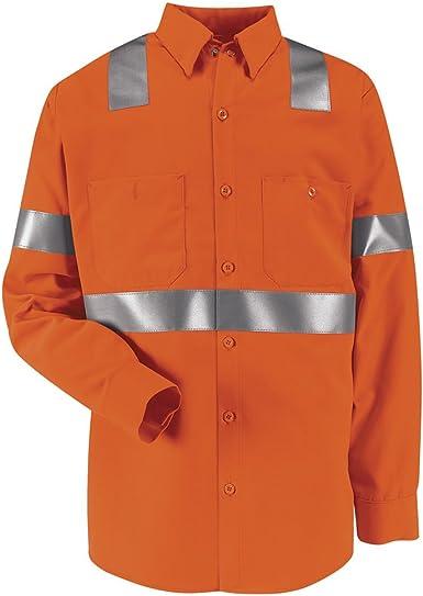 LNXXL SS14O2-LN-XXL Class 2 Level 2 Red Kap Hi-Visibility Work Shirt FLUORESCENT ORANGE