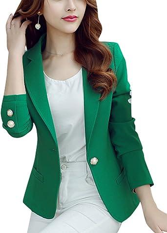 Femme Manches Longues Courte Veste De Tailleur Casual Mince Ol Blazer Costume Vert S Amazon Fr Vêtements Et Accessoires
