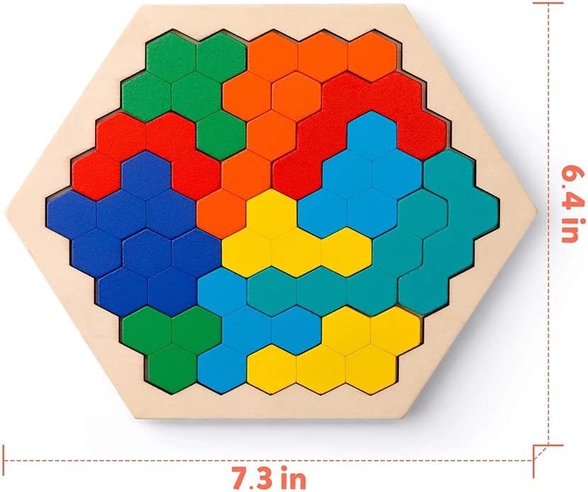DAOB Wooden Hexagon Puzzle for Kid Adults Pattern Block Tangram Brain Teaser Challenge Toy IQ Game Honeycomb Shape Logic Toy Gift