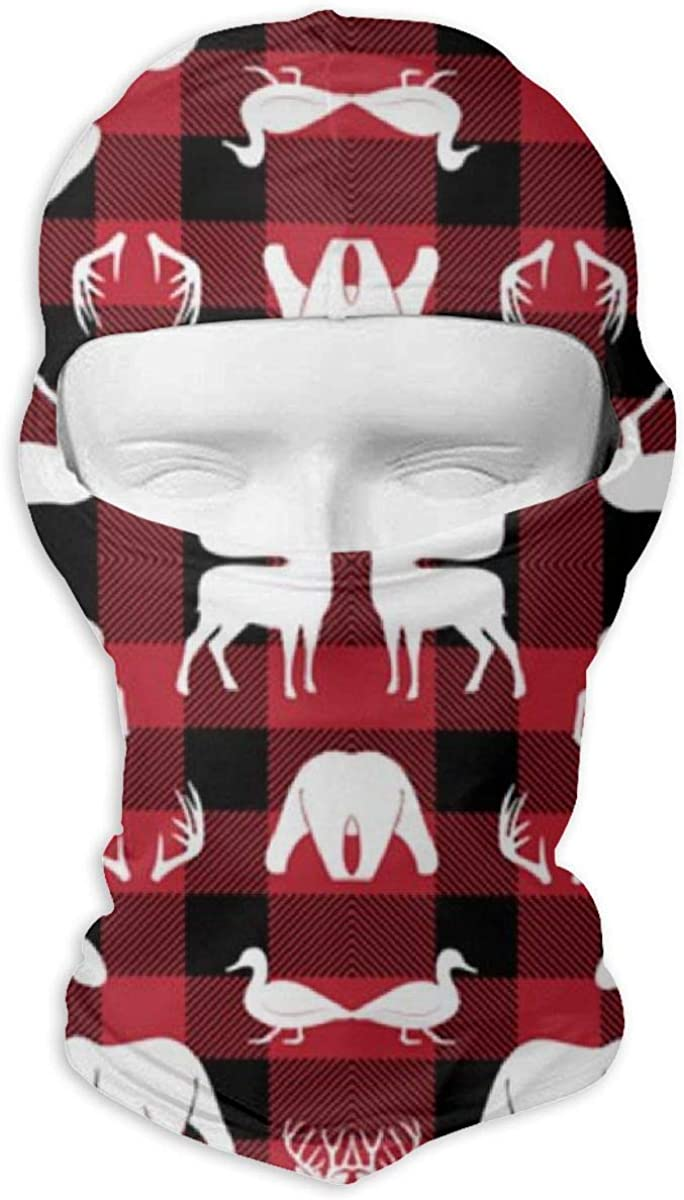 CAClifestyle Woodland Animals On Buffalo Plaid Unisex Windproof Balaclavas Full Face Mask Hood