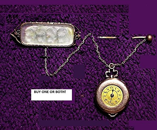 4 Warrior Camphor Glass w/Watch or Not, CHATELAINE Victorian 1800s Old Mine Cut Brooch Watch Pin w/Chain. Antique Yelow & Rose Gold (Victorian Chatelaine)