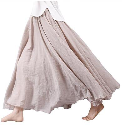 Asher Women's Bohemian Style Elastic Waist Band Cotton Linen Long Maxi Skirt Dress (95CM, Beige) at Women's Clothing store