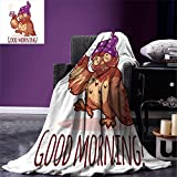 owl coffee cup cozy - smallbeefly Funny Custom Design Cozy Flannel Blanket Woken Owl in the Nightcap with A Cup of Coffee Good Morning Typography Humor Lightweight Blanket Extra Big Redwood Purple