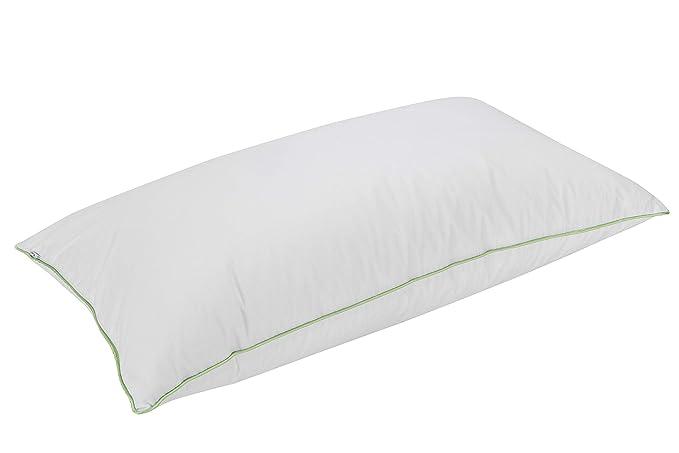 Pikolin Home - Almohada antiácaros Deluxe, 70% plumón de oca, 100% algodón egipcio, 50x70cm, color blanco. (Todas las medidas)