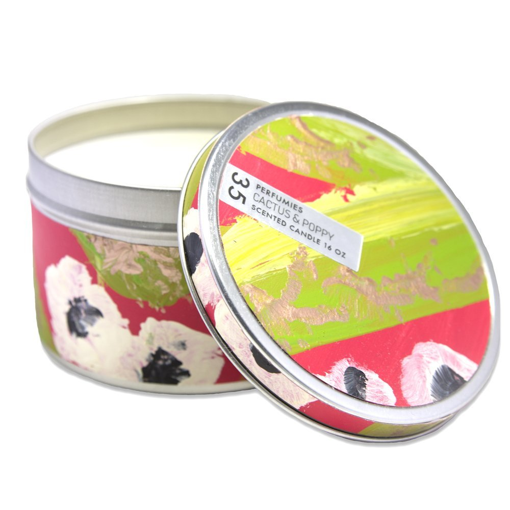 Cactus /& Poppy Scented Soy Luxury 16 oz Hand Painted Candle