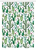 Ambesonne Green Decor Stall Shower Curtain, Mexican Texas Cactus Plants Spikes Cartoon Like Art Print, Fabric Bathroom Decor Set with Hooks, 54 W x 78 L inches, White Light Pink and Lime Green