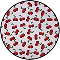 Printing Round Rug,Fruits,Vibrant Cherries Vitamin Agriculture Exotic Summer Garden Pattern Mat Non-Slip Soft Entrance Mat Door Floor Rug Area Rug For Chair Living Room,Ruby Hunter Green Coconut