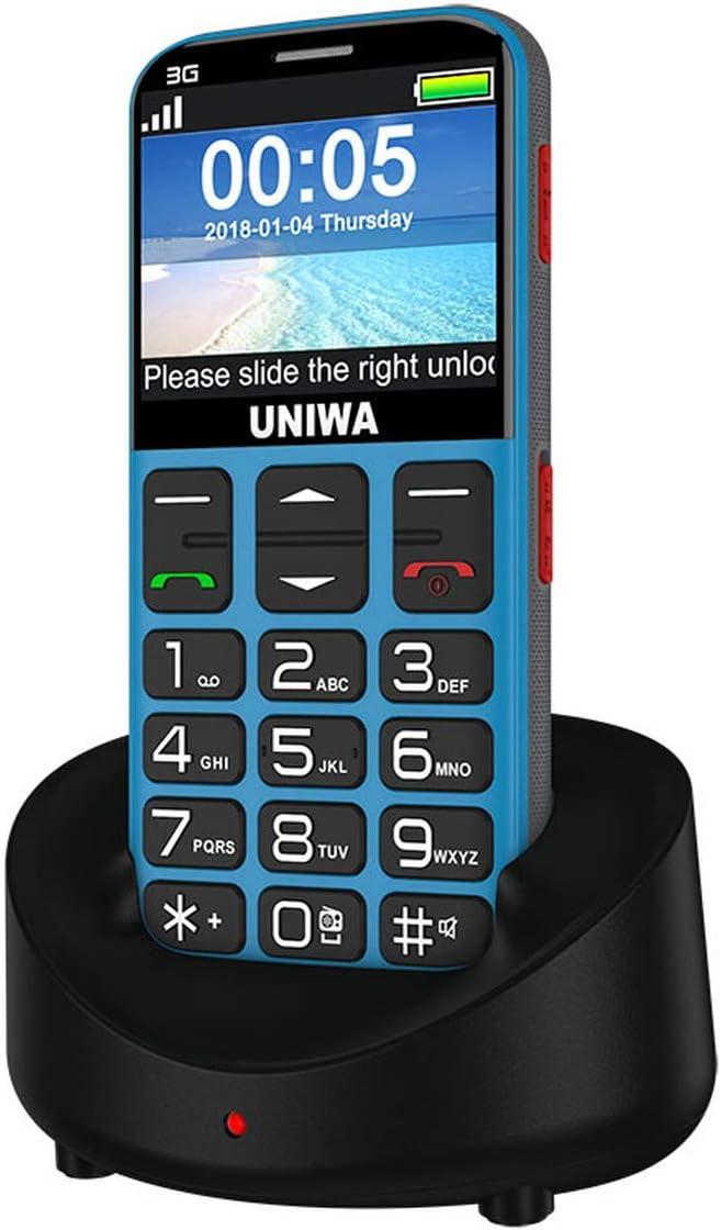 Premewish Teléfono Móvil con Tapa para Personas Mayores con botón SOS y Base Cargadora Tarjeta SIM 3G Pantalla de 2,31 Pulgadas Cámara: Amazon.es: Electrónica