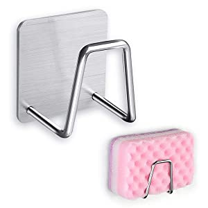 Sponge Holder for Kitchen Sink, Sponge Caddy Brushed Stainless Steel with Adhesive