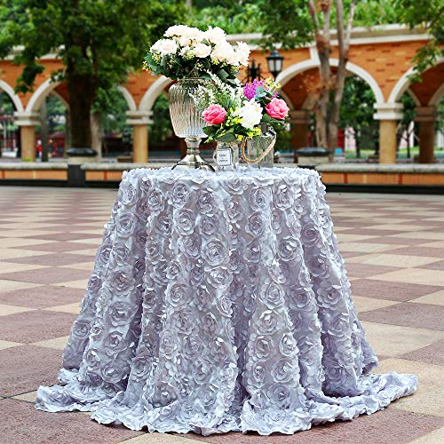 B-COOL 3D Rose Tablecloth Silver Rosette Royal Romantic Elegant Fabric for Wedding/Party/Birthday/Other Event Decor 120
