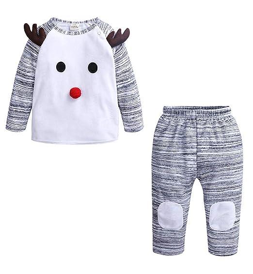 e6530b86d Amazon.com: 2Pcs Kids Toddler Baby Girl Boy Christmas Outfit, Long Sleeve  Sweater Tops+Long Pants Set: Clothing