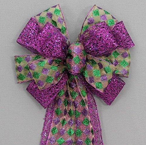 Harlequin Purple Mesh Mardi Gras Bow - 10