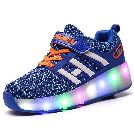 Chicos Chicas LED Iluminado Zapatillas con Ruedas Individuales Zapatillas de Deporte de Entrenamiento Deportivo al Aire Libre: Amazon.es: Zapatos y ...