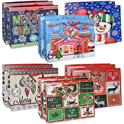 12 Large Christmas Gift Bags Bulk Variety Assortment Goody B