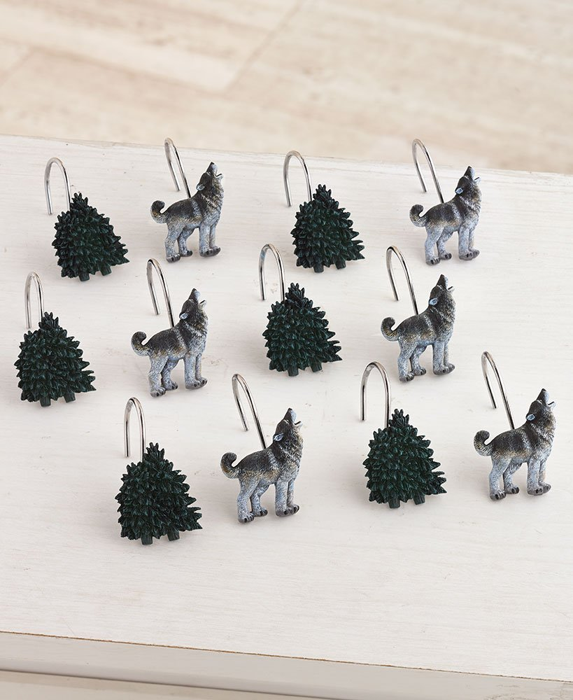 The Lakeside Collection Set of 12 Wolf Pack Hooks