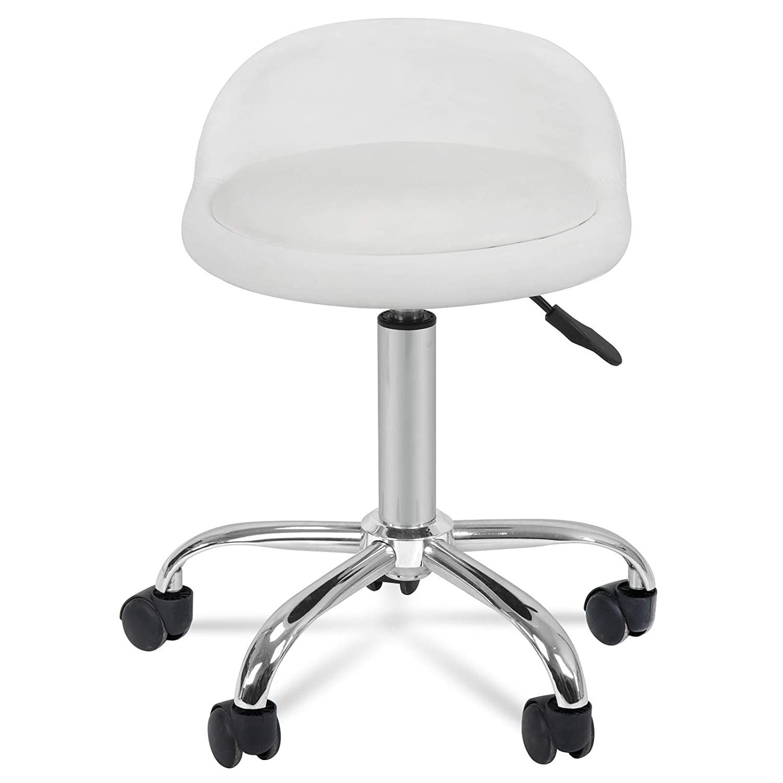 HomGarden Adjustable Height Hydraulic Rolling Swivel Stool for Massage Salon Office Facial Spa Medical Tattoo Chair Stool w/Backrest Cushion & Wheels: Furniture & Decor