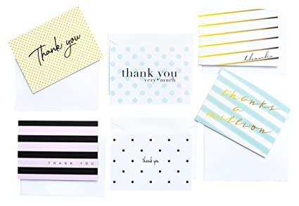 modern chic thank you cards and envelopes 36 thank you notes note cards - Note Cards