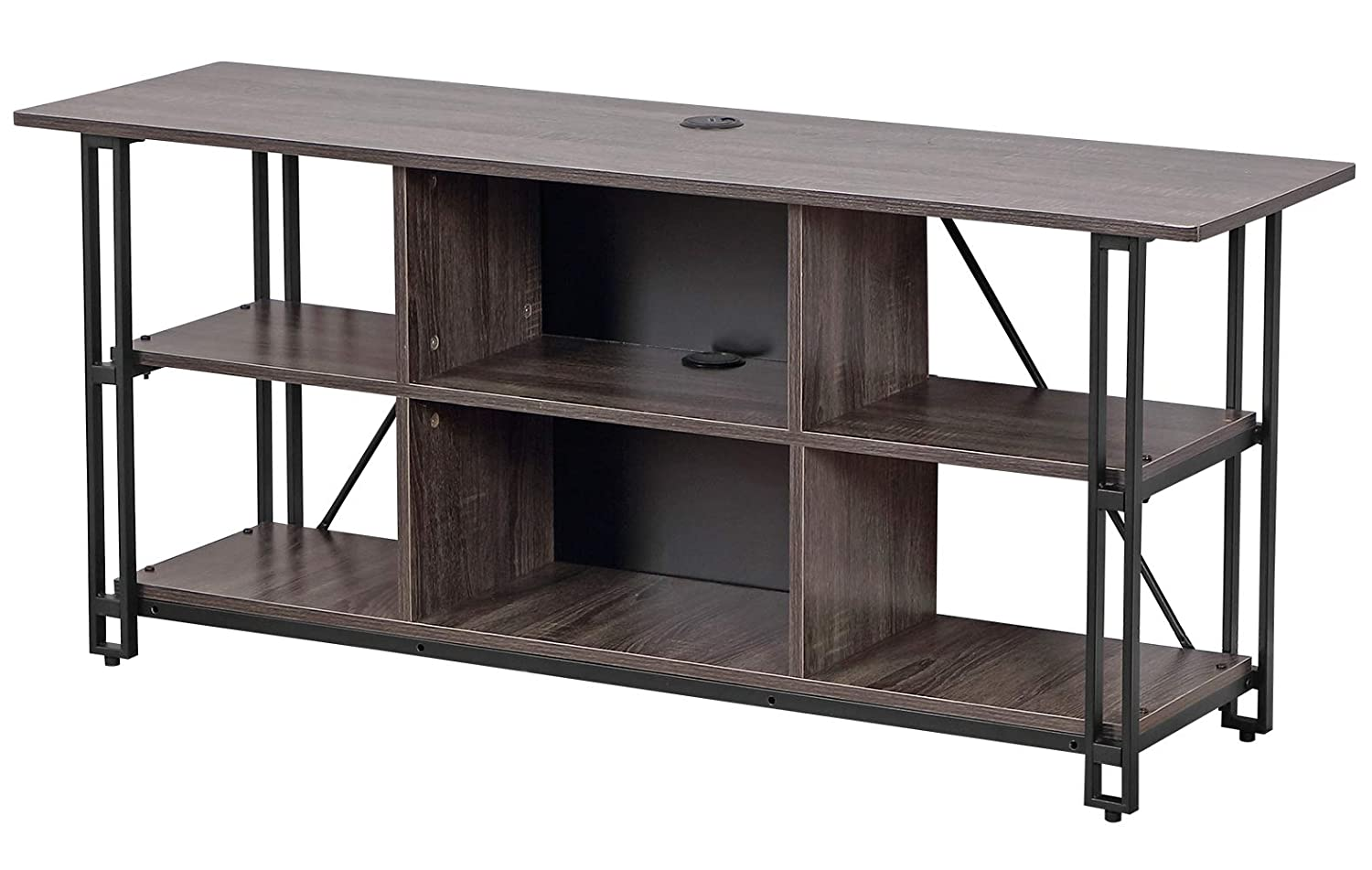 Bizzoelife Entertainment Center TV Stand Console Table 54 Inches Industrial Media Stand 3-Tier with Open Storage Shelf, Rustic