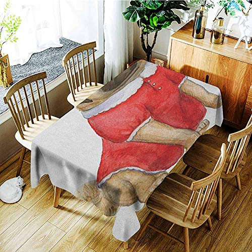 XXANS Waterproof Table Cover,Pug,Cute Dog in Red Dress Animal Cartoon Style Design Funny Pet Picture Print,Table Cover for Dining,W60X102L Pale Brown Red Brown]()