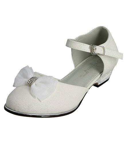 belle qualité styles classiques une autre chance Boutique-Magique Chaussures Fille Mariage baptême Communion Blanche  Paillettes Scintillantes