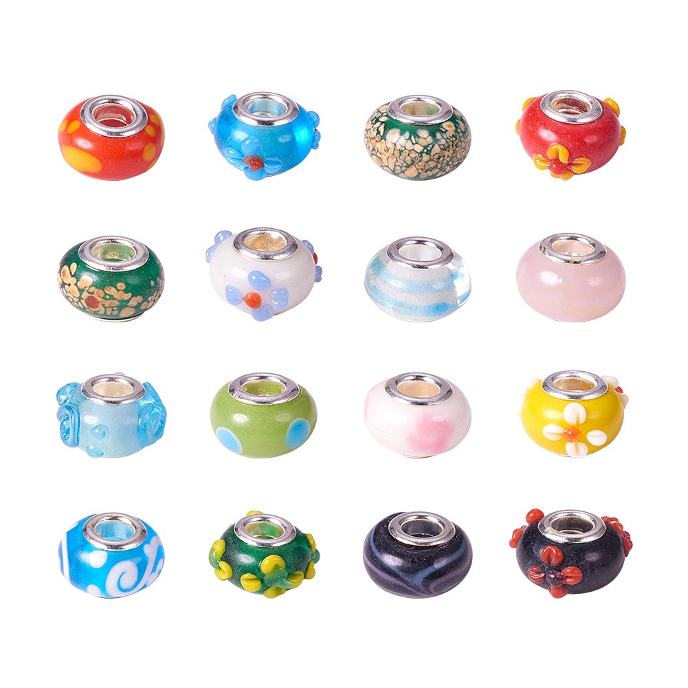 Pandahall 100PCS 14x9mm Mixed Styles Handmade Lampwork European Style Beads with Plating Silver Double Core, Mixed Color by PH PandaHall (Image #1)