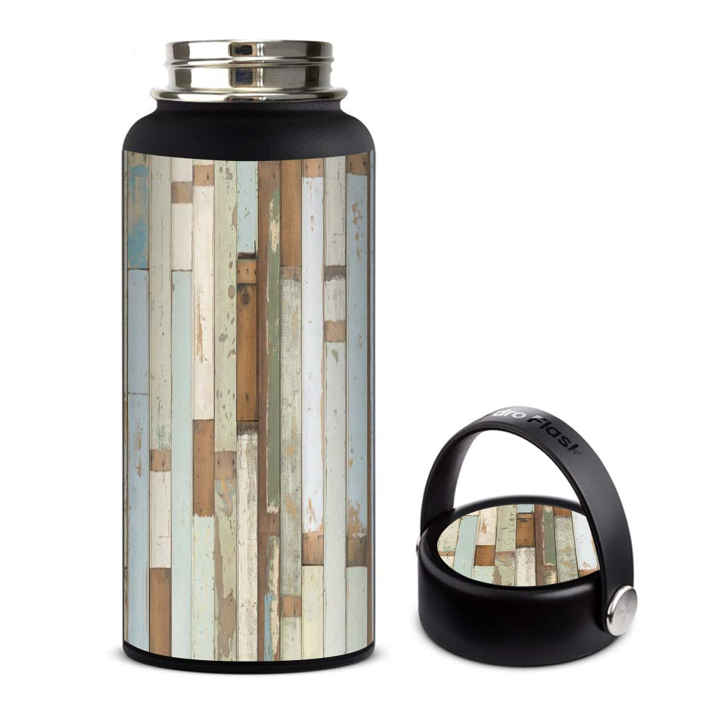 Skin Decal Vinyl Wrap for Hydro Flask 32oz Wide Mouth Skins Stickers Cover/Beach Wood Panels Teal White Wash