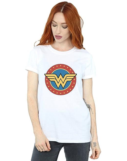 DC Comics Mujer Wonder Woman Circle Logo Camiseta del Novio Fit  Amazon.es   Ropa y accesorios 156ccd61361fa