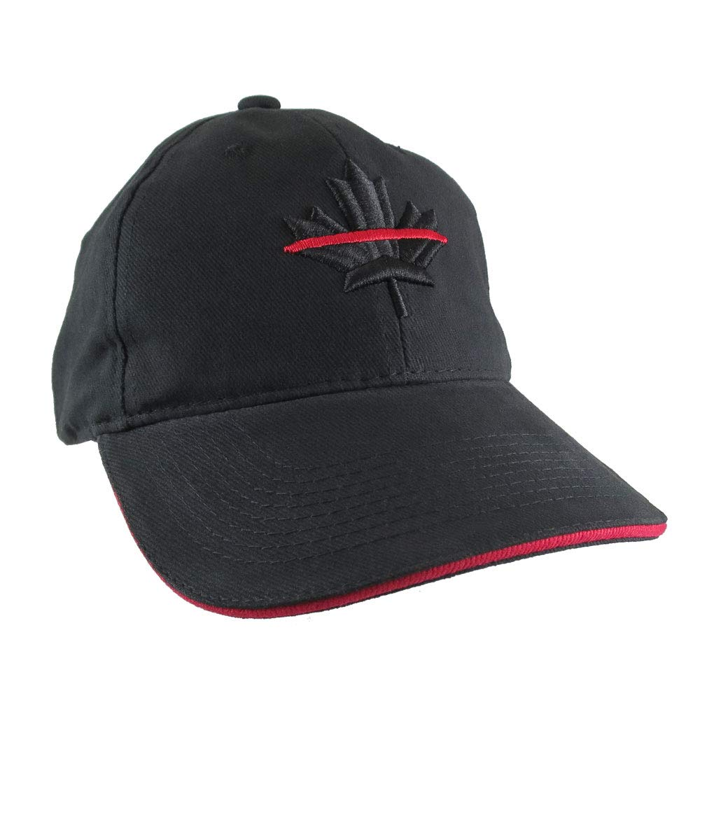 A Canadian Thin Red Line Firefighters Symbolic Maple Leaf 3D Embroidery Adjustable Black and Red Trimmed Structured Baseball Cap + Option