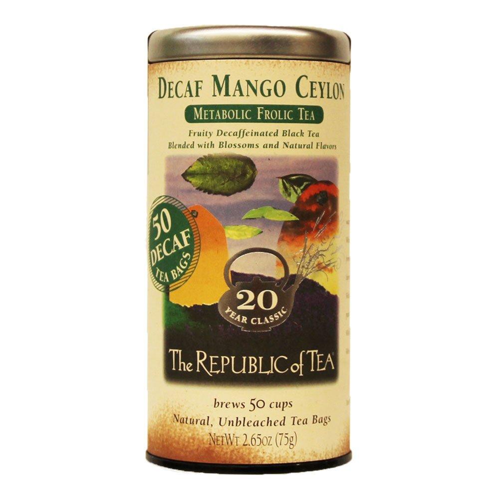 The Republic of Tea Decaf Mango Ceylon Black Tea, 50 Tea Bags, Light Tropical Ceylon Tea