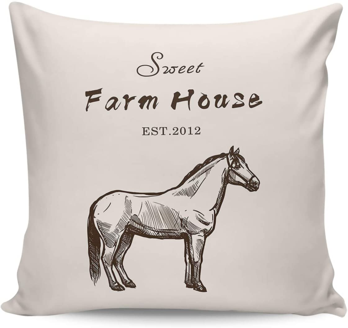 Scrummy Fundas de almohada de 60,96 x 60,96 cm, diseño de caballo de animales abstractos rústicos, fundas de cojín cuadradas para decoración del hogar