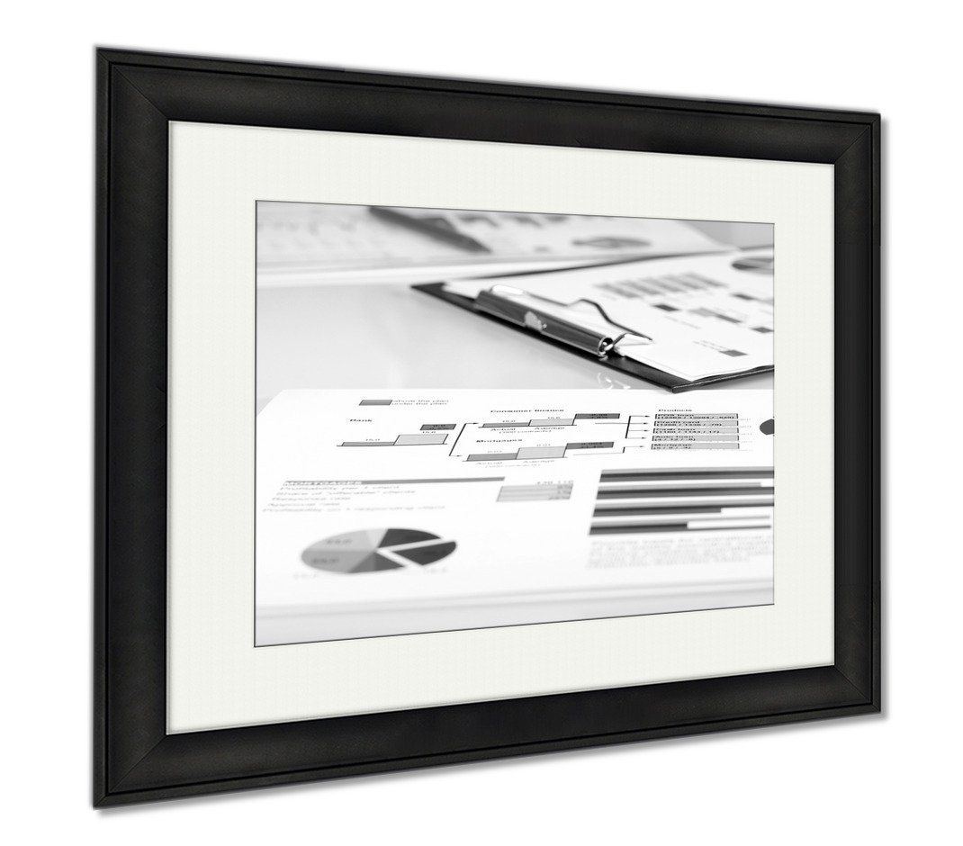 Ashley Framed Prints Colorful Graphs Charts Marketing Research And Business Annual Report Management, Modern Room Accent Piece, Black/White, 34x40 (frame size), Black Frame, AG6066103