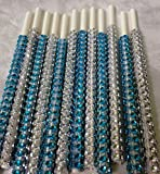 Specialty Bling Cake Pop Sticks - Silver & Teal/Aqua/Turquoise Glam for Lollipops, Cake Pops and All Things Party - Bling Sticks 6