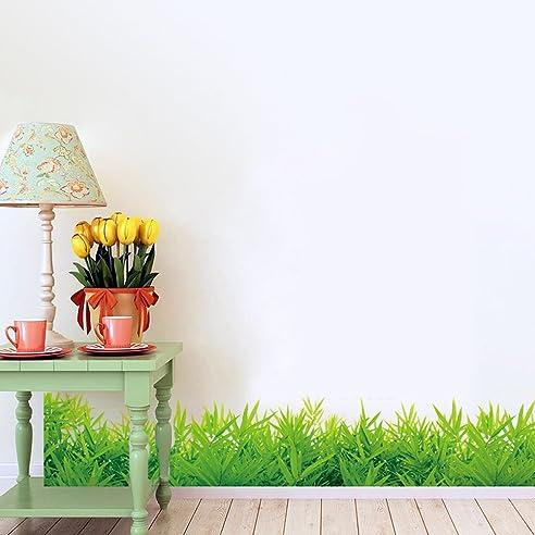 Wallpark Frisch Grün Gras Ecke Fußleiste Abnehmbare Wandsticker