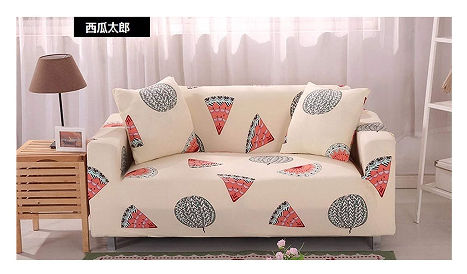 4seat VGUYFUYH Watermelon Pattern Skid Proof Sofa Cover Polyester Full Package Elasticity Home Versatile Sofa Cover Simple Fashion One Piece Durable Dust Proof Pet Dog Predective Cover,4Seat