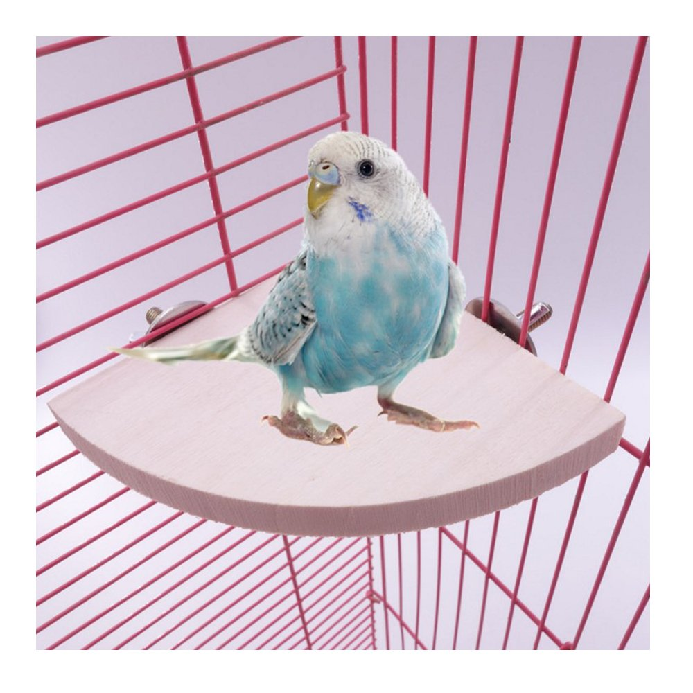 Comidox 17cm17cm Wooden Parred Bird Cage Perches Round Coin Stand Platform Budgie Toys Bird Stand for Parakeets 1PCS