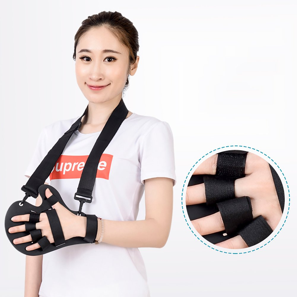 Straps lefthand Finger & Wrist Orthosis, Fixed Finger Plate Rehabilitation Training Device, Apoplectic Hemiplegia Finger Cramps Separation Correction,Straps,lefthand