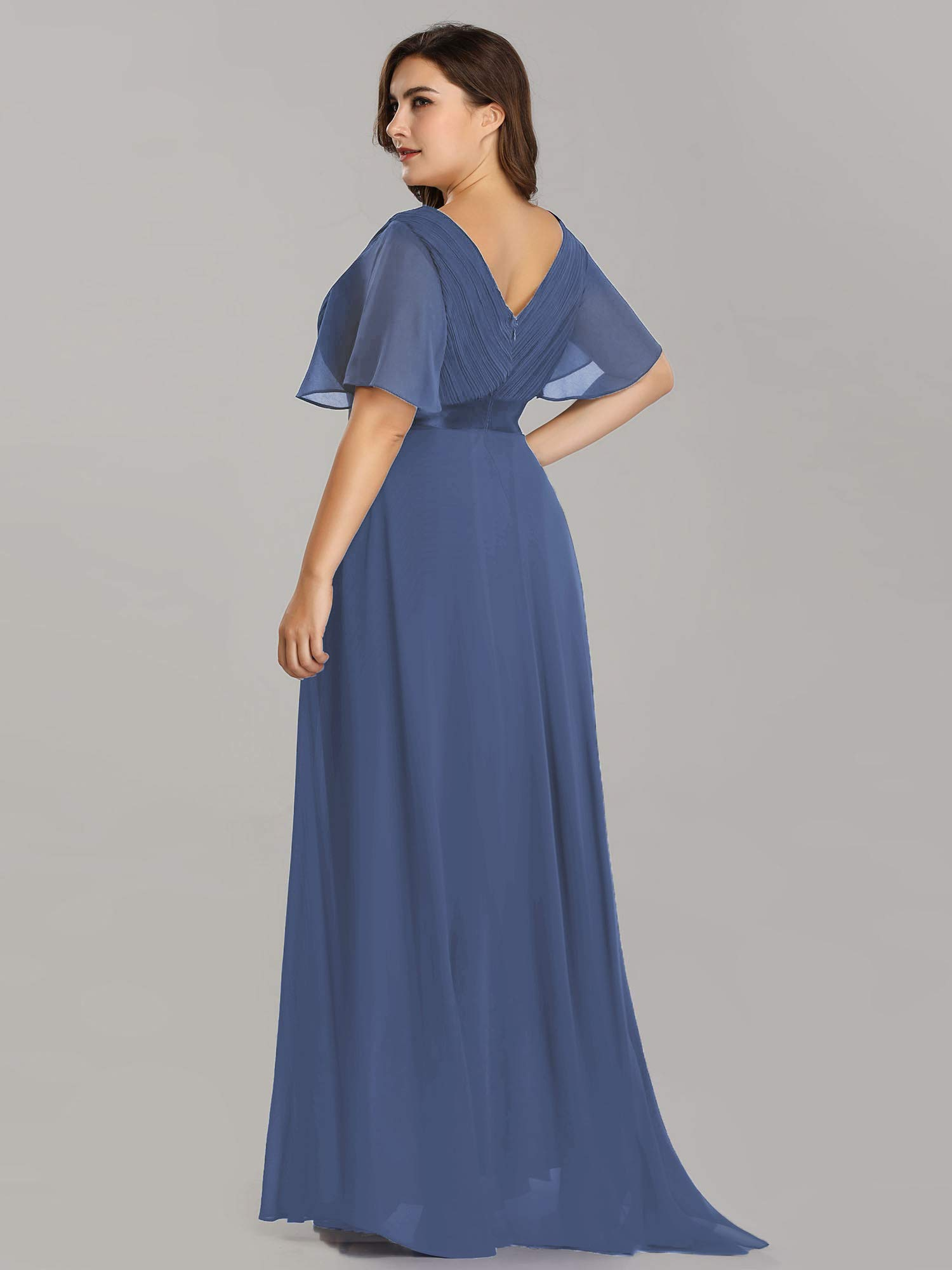 Alisapan Womens A-Line Bridesmaid Dress Plus Size Formal Evening Dresses  Dusty Blue US20