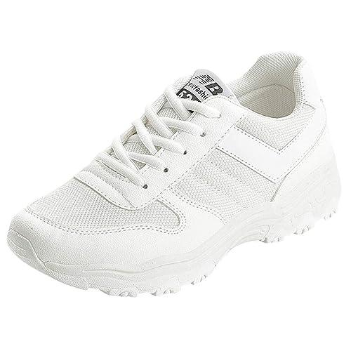 Zapatillas Deportivas de Mujer Air Cordones Zapatillas de Running Fitness Sneakers Zapatillas de Correr para Adolescentes Moda Cómodo Transpirable ...